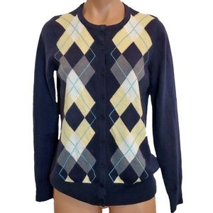 Croft & Barrow Argyle Button Crew Neck Cardigan